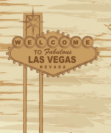 las vegas strip: grunge welcome to fabulous las vegas nevada sign. vector Illustration