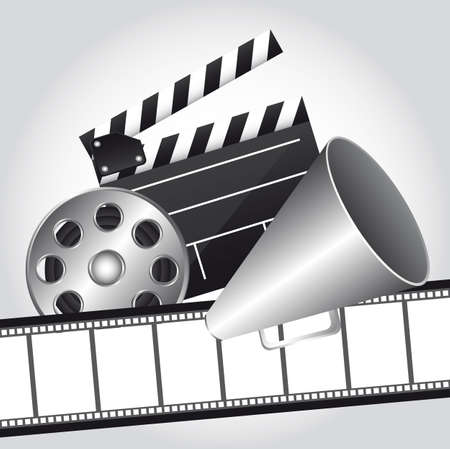 famous industries: film strip with clapper board and megaphone, cinema. vector