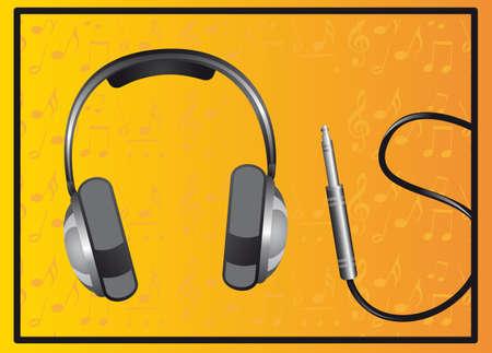 headphones over yellow background. vector illustration Stock Vector - 13216405
