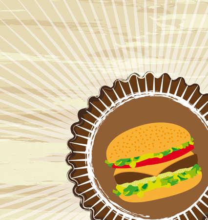 grunge hamburger over brown background, fast food. vector illustration Stock Vector - 13216434