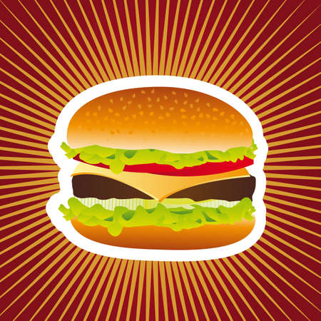 eating burger: delicious hamburger over red background. vector illustration