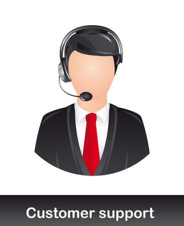 omini bianchi: assistenza clienti con le cuffie su sfondo bianco. vettore