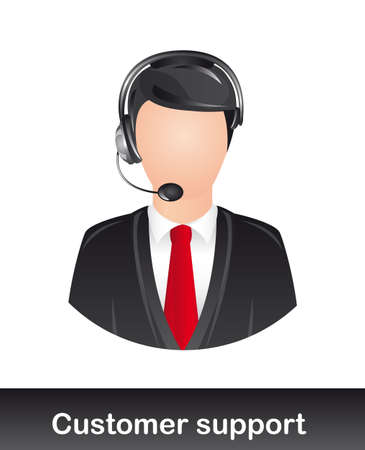 face with headset: customer support with headphones over white background. vector