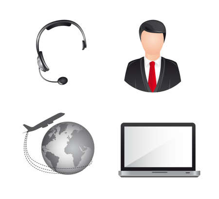 userpic: headphones with laptop and planet, business icons. vector illustration