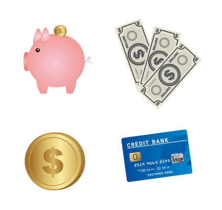 piggy with money and credit cart, business icons. vector Stock Vector - 13216431
