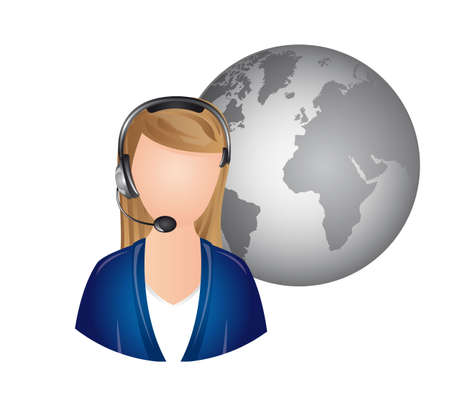 userpic: woman receptionist with headphones over white background. vector Illustration