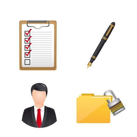 userpic: business icons over white background. vector illustration