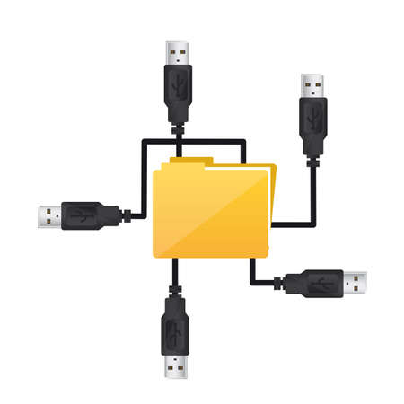 usb plugs with folder over white background, conceptual. vector Stock Vector - 13216263