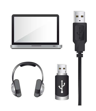 laptop with usb plug and headphones over white background. vector