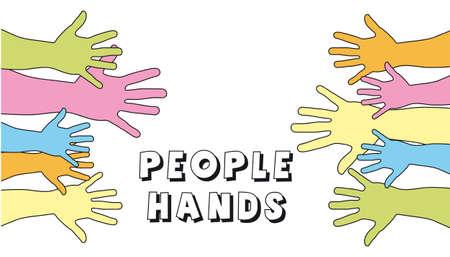 participate: cute hands over white background. vector illustration Illustration