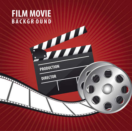 film movie with clappler board over red background. vector Vector