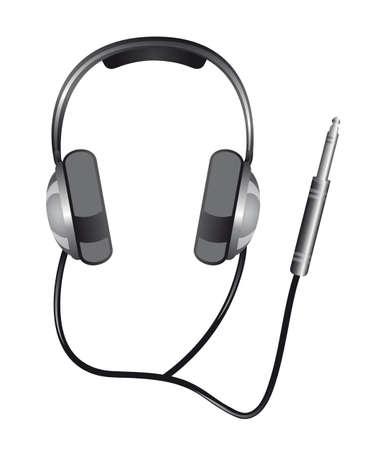 audifonos: auriculares con conector jack aislado sobre fondo blanco. vector