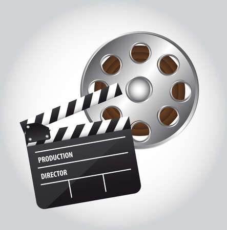 famous industries: clapper board and movie film over gray background. vector