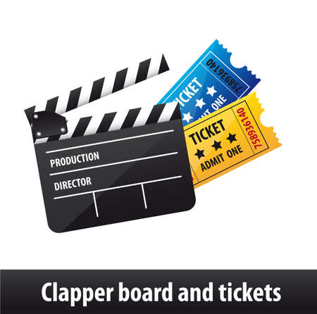film director: clapper board and tickets isolated over white background. vector