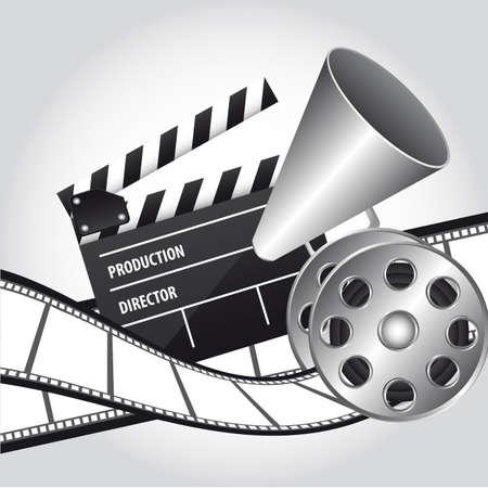 board of director: megafono con ciak e pellicole cinematografiche. illustrazione vettoriale