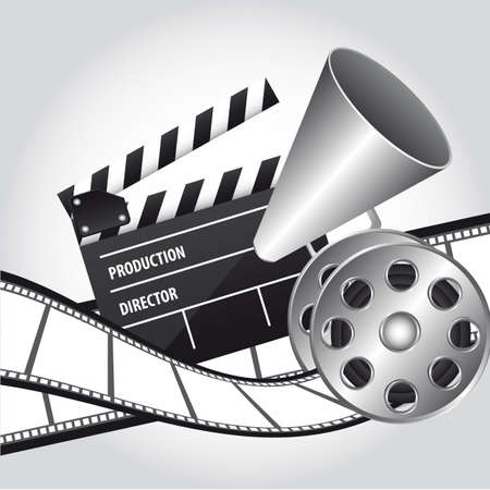 directors: megaphone with clapper board and movie film. vector illustration