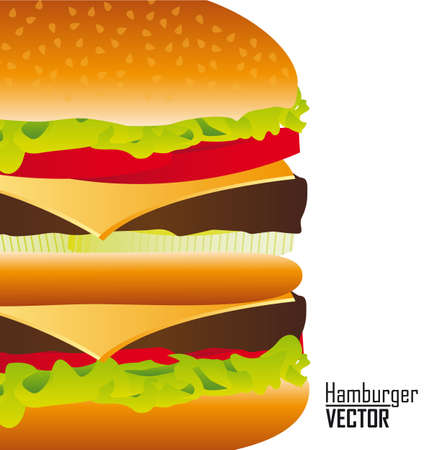 hamburger over white background, closed up. vector Stock Vector - 13216272