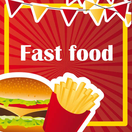 french cuisine: hamburger with french fries over red background. vector