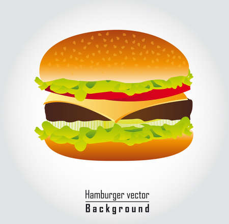 delicious hamburger over gray background. vector illustration Vector