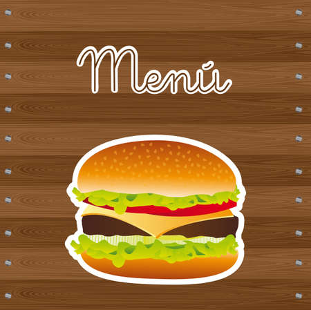 hamburger over wooden background, menu. vector illustration Vector