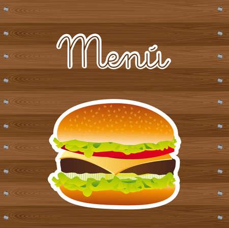 hamburger over wooden background, menu. vector illustration Vector