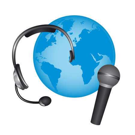 headphone and microphone over planet isolated. vector Stock Vector - 13216375