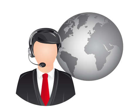 userpic: man with headphones over planet icon over white background. vector