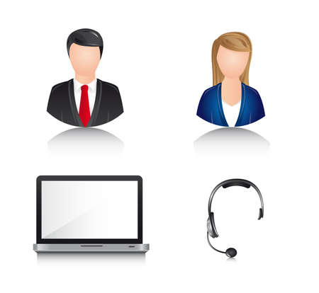 receptionists: businessman and businesswoman with laptop and headphones. vector