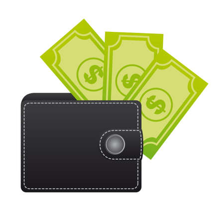 leather wallet with bills over white background. vector Vector