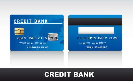 tarjeta de crédito de color azul con sombra sobre fondo gris. vector