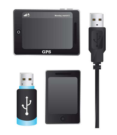 usp plugs with gsp and cellphone isolated over white background. vector Vector