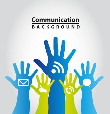 participation: colorful hands with communication signs. vector illustration