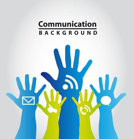 participacion: manos de colores con los signos de comunicaci�n. ilustraci�n vectorial