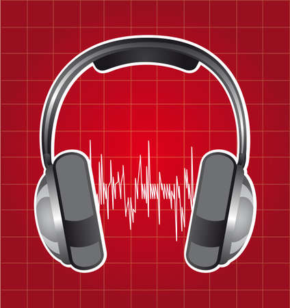 healphones with sound wave over red background. vector Stock Vector - 13216371