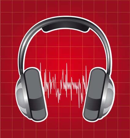 healphones with sound wave over red background. vector Vector