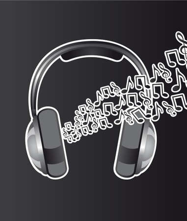 headphones with music notes over black background. vector Vector
