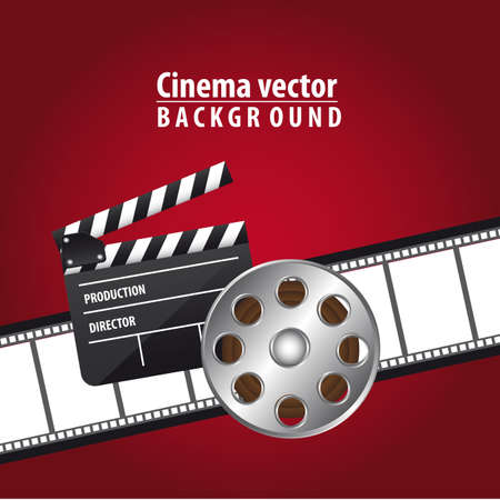 famous industries: clapper board with movie film and  film stripe over red background. vector