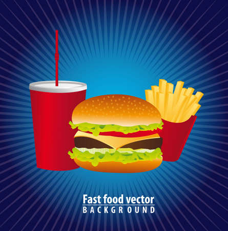hamburger with french and beverage over blue backgroundd. vector Stock Vector - 13216408