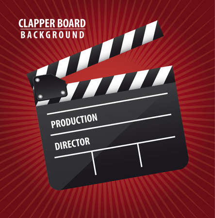 movie screen: clapper board over red background. vector illustration