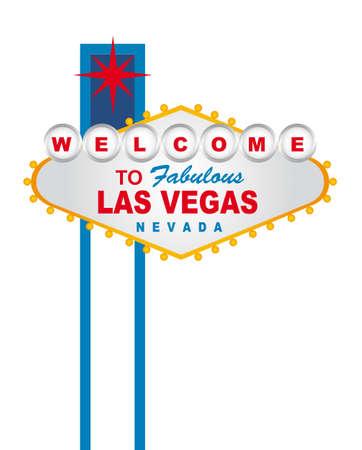welcome party: Bienvenido a la fabulosa Las Vegas Nevada firme sobre el fondo blanco. vector