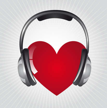 plastic heart: cuffie con il cuore su sfondo grigio. illustrazione vettoriale Vettoriali