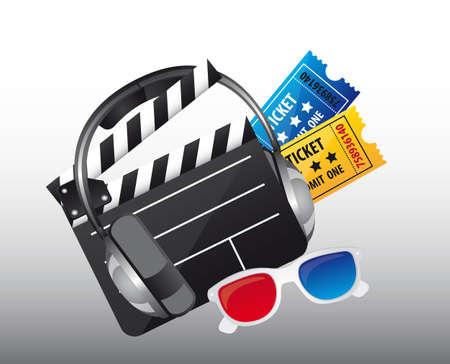 cinema symbols over gray background. vector illustration Stock Vector - 13216320