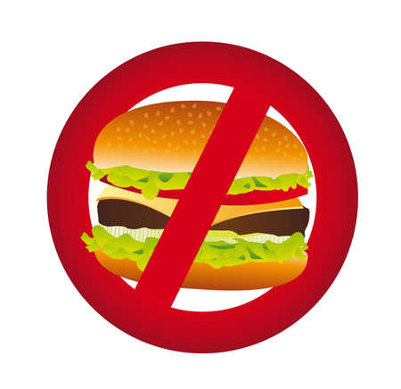 eating burger: no hamburger isolated over white background. vector illustration
