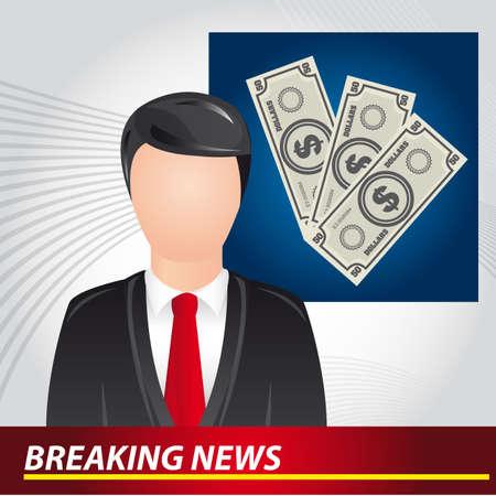 newscaster: newscaster with bills, breaking news. vector illustration Illustration