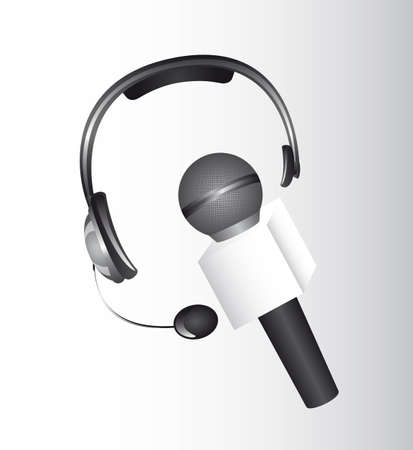 headphones and microphone over gray background. vector Stock Vector - 13216244