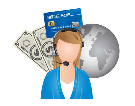 woman credit card: receptionist with planet and bill isolated over white background. vector
