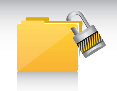 padlock: folder with padlock with shadow. vector illustration