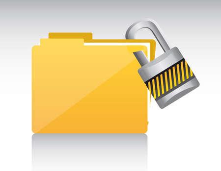 padlock icon: folder with padlock with shadow. vector illustration