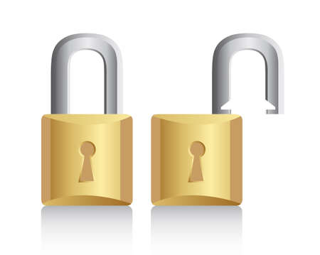 gold padlock open and closed with shadow. vector illustration Vector