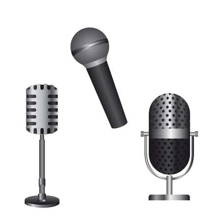 amplification: microphones isol� sur fond blanc. illustration vectorielle